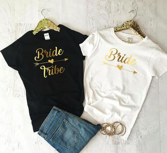 customized gold bride tribe wedding bachelorette bridesmaids tank tops tees bridal shower t shirts singlets party