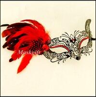 Ücretsiz Kargo 48 adet Cadılar Bayramı Tüy Metal Maske Venedik Metal Lazer Kesim ME002C-RBK of Kırmızı Taşlar ve Tüyler Kedi Maskesi