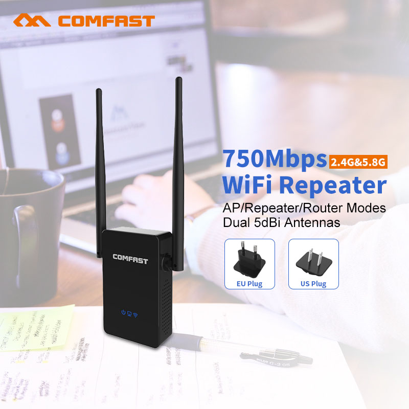 20Pcs 750Mbps Wifi Repeater Wifi Signal Amplifier 2.4ghz+5g COMFAST Wireless Repeater 802.11AC Dual Band Wi-fi  Mi Wifi Router