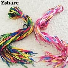 2 Pair Colorful shoeLace Rainbow Gradient Print Flat Canvas Shoe Lace Shoes Casual Chromatic Colour Shoelaces 80CM/100CM/120CM