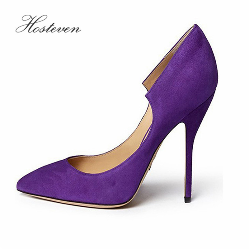 Hosteven Women's Shoes Pumps Wedding Round Toe Shoes Woman High Heels Spring Autumn Flock Leather Solid Shoes Plus Size 34-44 bowknot pointed toe women pumps flock leather woman thin high heels wedding shoes 2017 new fashion shoes plus size 41 42