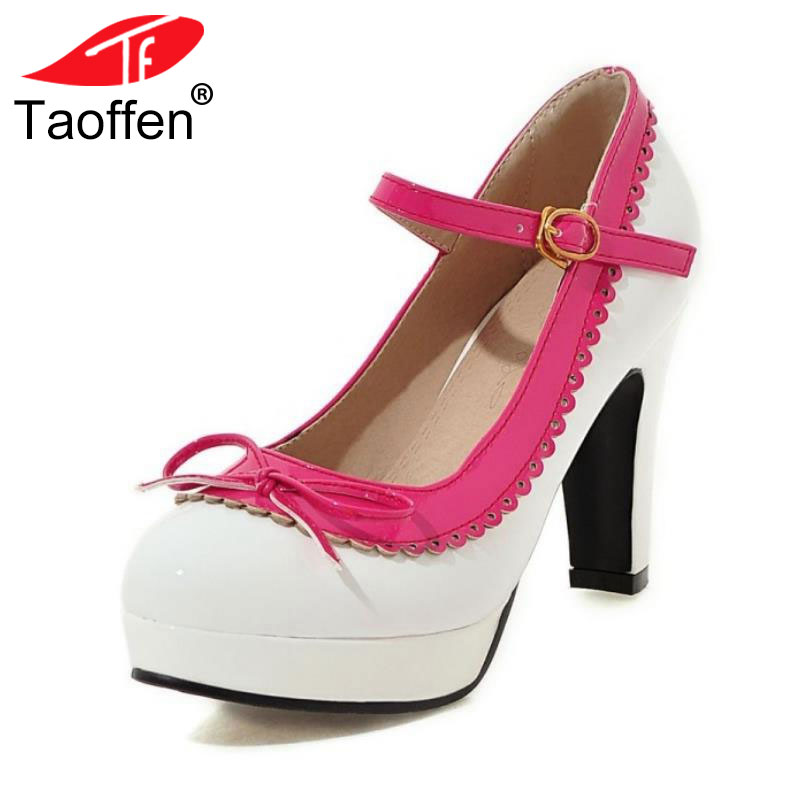 TAOFFEN Women Ankle Strap High Heel Shoes Women Bowtie Round Toe Heels Pumps Fashion Platform Party Footwears Size 32-48 цена