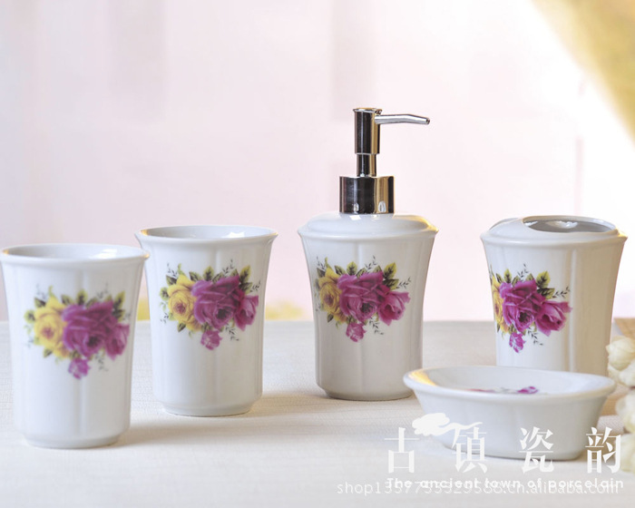 Five Piece Yellow And Red Rose Ceramic Bathroom Set Toiletries Toothbrush  Holder Bathroom Accessories Bathroom