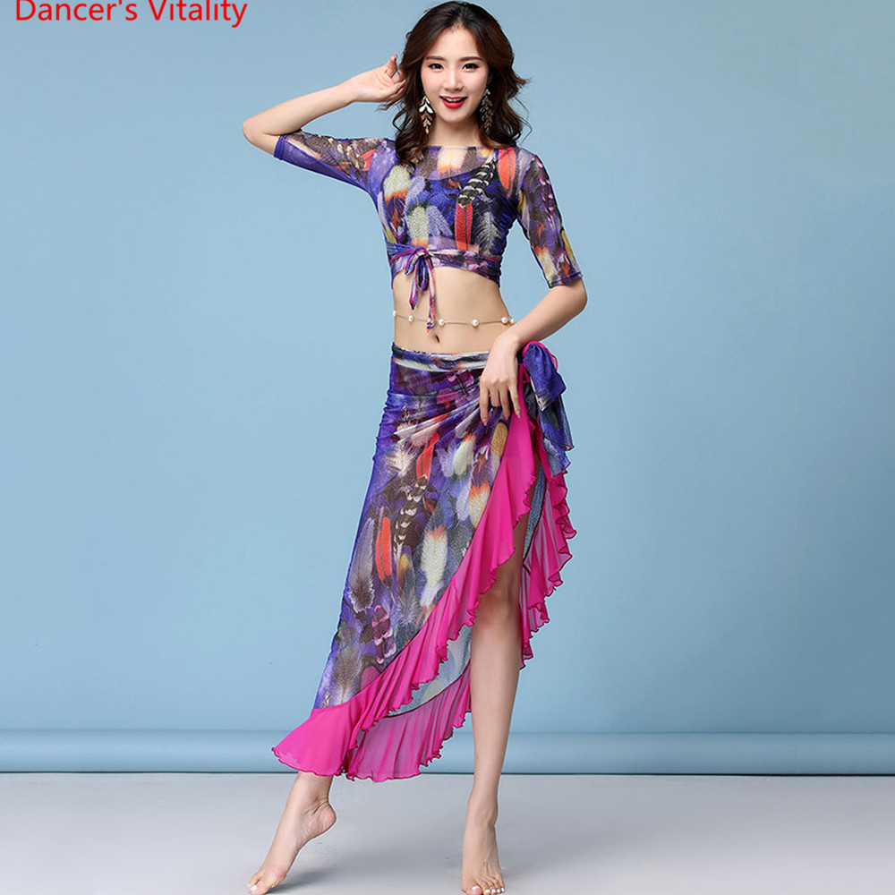 Girls Competition Belly Dance Costumes Print Women Dress (Half Sleeves Top + Skirt) 2pcs For Dancer Clothing M, L, XL,