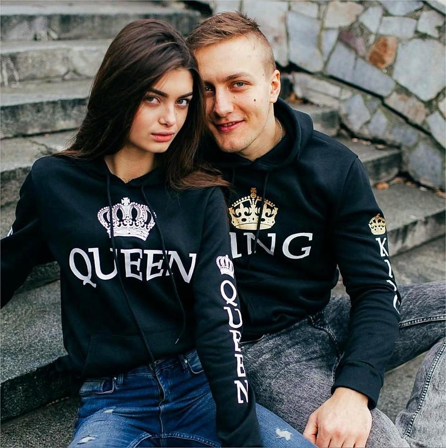 Poshfeel 2018 King Queen Printed Couple Hoodies Women Men Sweatshirt Lovers Couples Hoodies Casual Pullovers Gift 4