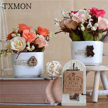 Literary Mini Ceramic White Cup Fake Flower Set Champagne Rose Artificial Flower Pot Home Living Room Decoration