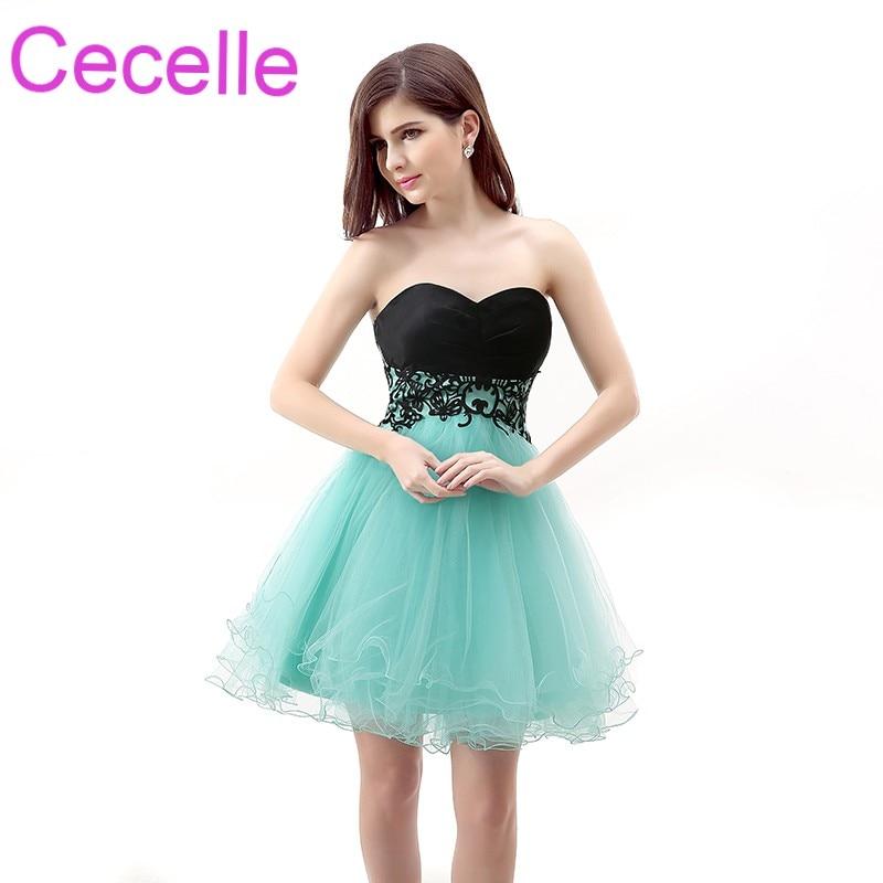 289e4094c426 Mint Black Cute Short Cocktail Dresses 2019 Sweetheart Mini Juniors  Informal Semi Formal Prom Party Dresses Custom Made Real