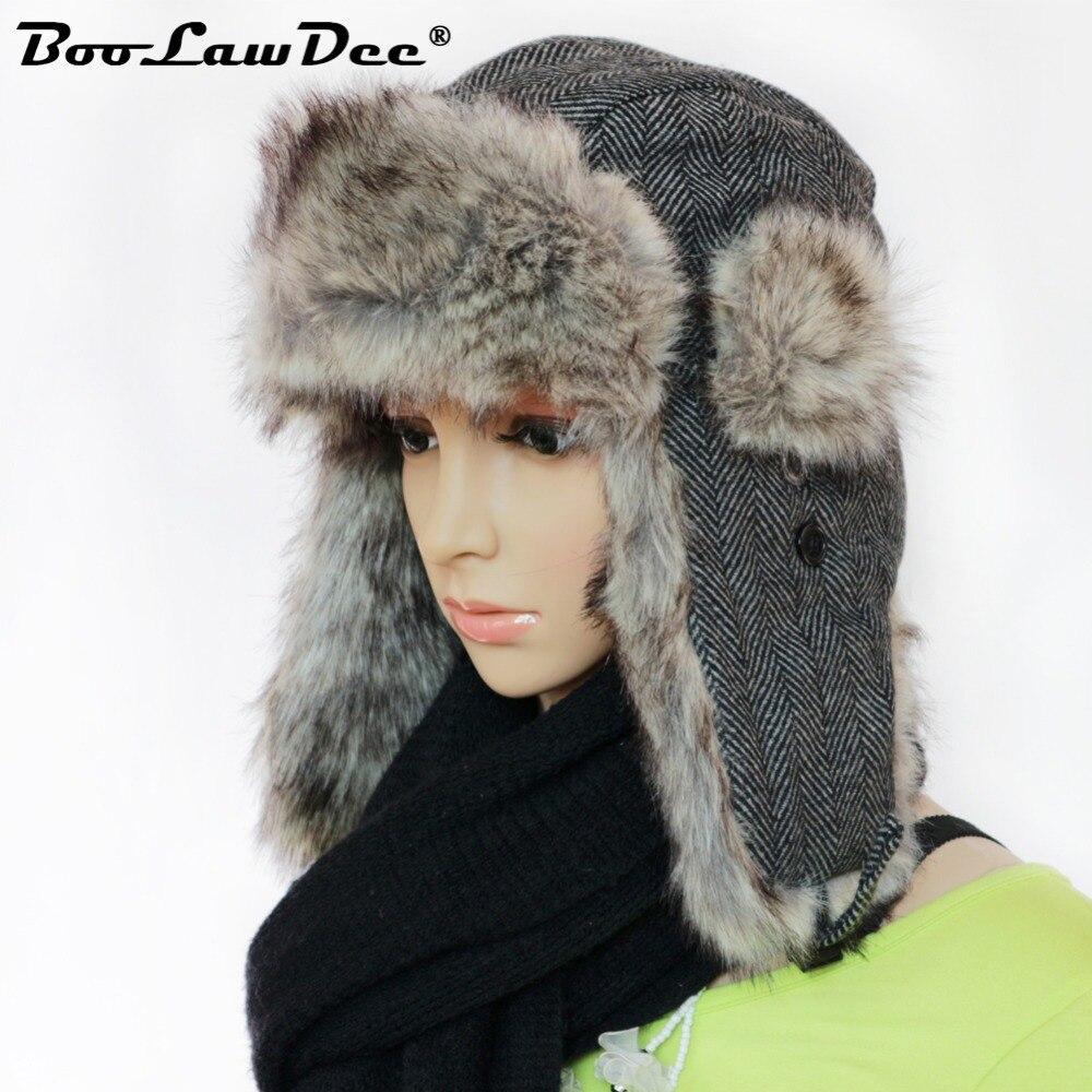 a96280c1127 BooLawDee 2017 woolen and cotton blends pilot bomber hat for women winter  warming ushanka cap leisure