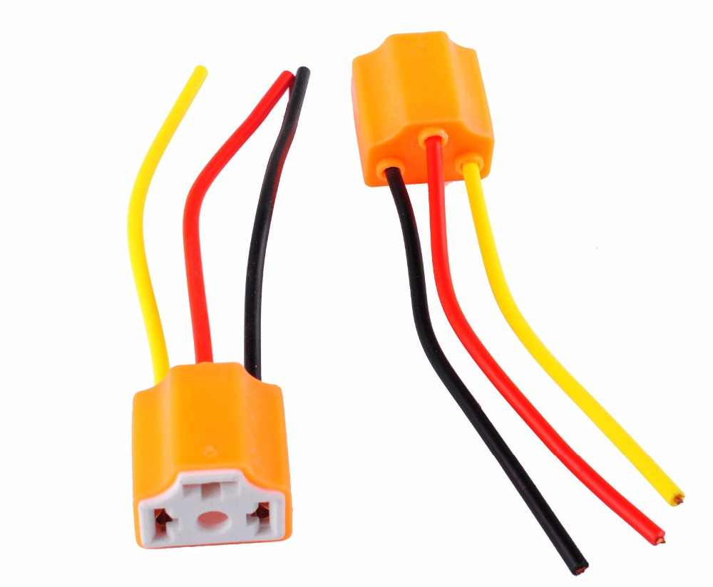 small resolution of  2pcs 9003 h4 h7 led ceramic wire wiring harness connector sockets bulb pigtail plug h4 h7