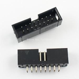 Image 1 - Lot başına 100 adet 2.54mm 2x8 Pin 16 Pin düz erkek örtülü PCB kutusu header IDC soket