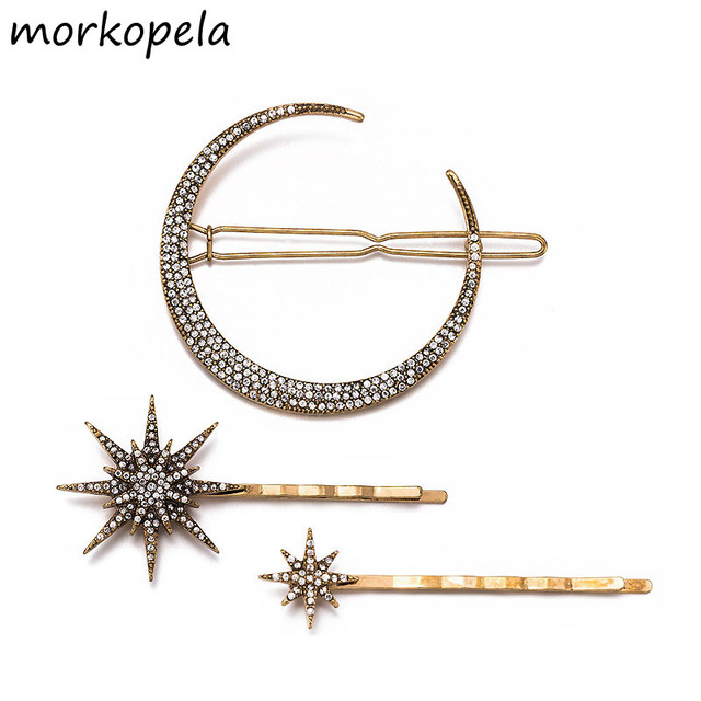 Morkopela Star Rhinestone Hairpin Vintage Women Hair Clip Moon Star Hair Pins Accessories Wedding Hair Jewelry