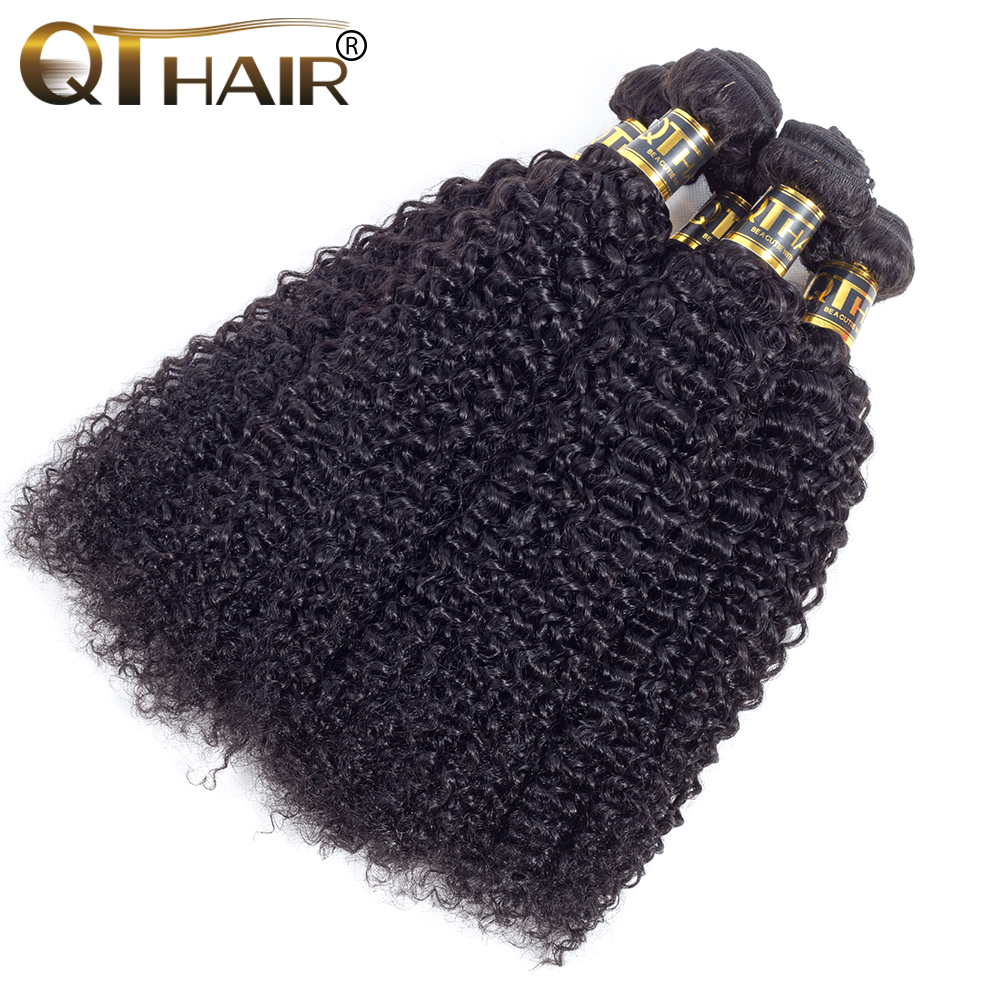 QT hair Malaysia hair Weave Bundles Kinky Curly Natural Black Non-Remy Human Hair Extensions 4 pieces