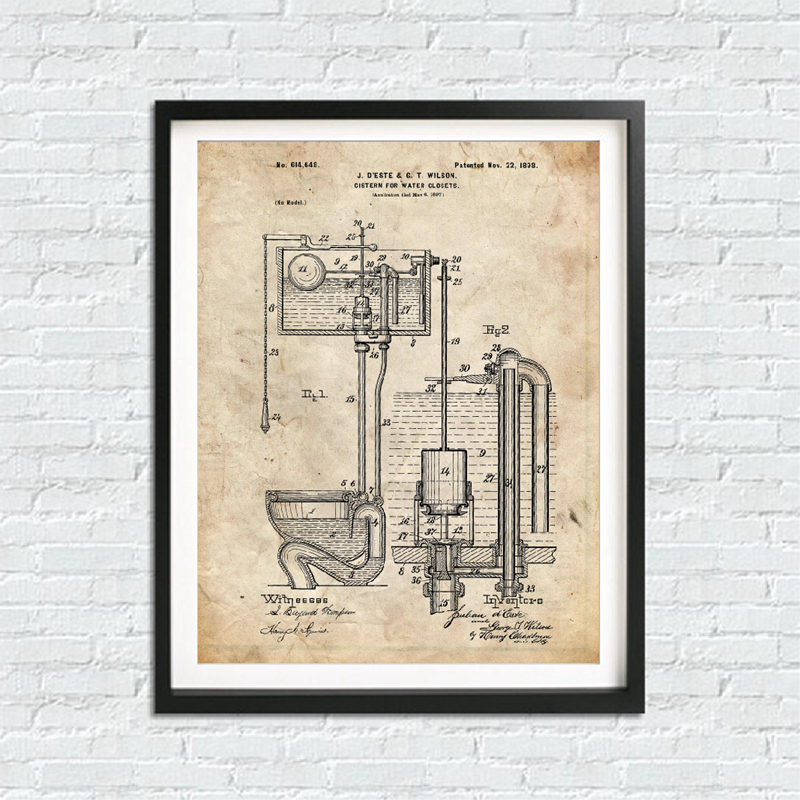 Bathroom Blueprints Canvas Prints