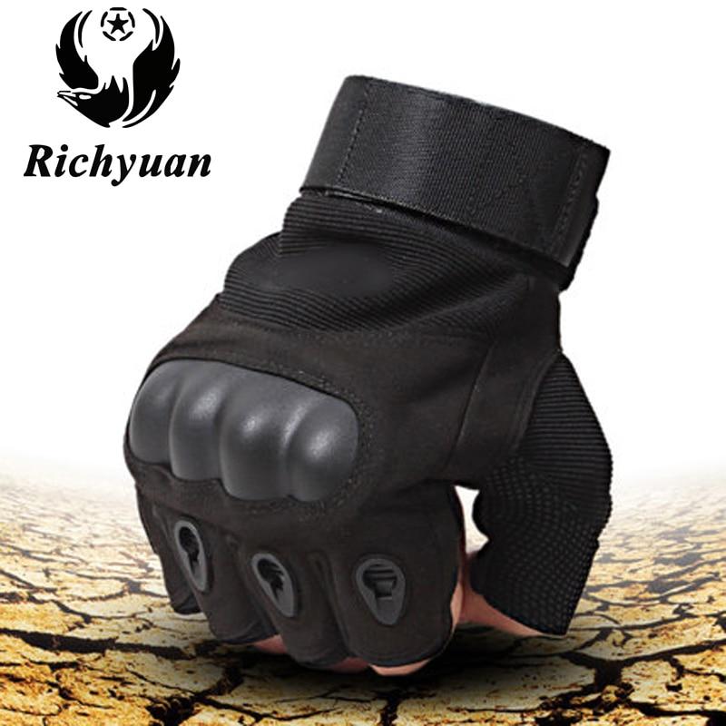 Richyuan Vélo En Plein Air Tactique Militaire Gants Sport Gym Armée Paintball Airsoft Mitaines Carbone Moitié Doigt Luva Gants