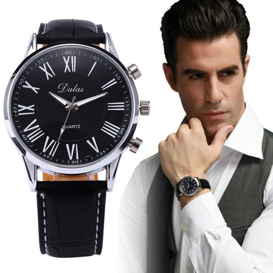 Top Luxury Mens Watches Faux Leather Brand Stainless Steel Round Case Analog Quartz Wrist Watch Black Erkek Kol Saati reloj elegantes para hombres