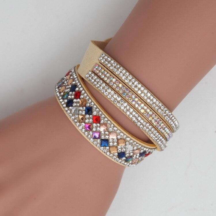 Meajoe Trendy Women Men Multilayer Rhinestone Slake Leather Bracelet Vintage Charm Crystal Long Bracelets Jewelry For Women Gift 2