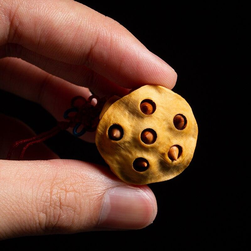 1 pièces Lotus graine de bon augure fait main bricolage en bois massif fleur statue sculpture artisanat en bois artisanat cadeau créatif pendentif - 4
