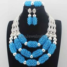 Luxury Turquoise Blue Nigerian Beads Fashion Jewelry Set Wedding Anniversary Bride Gift Necklace Earrings Set Free Ship HD8657