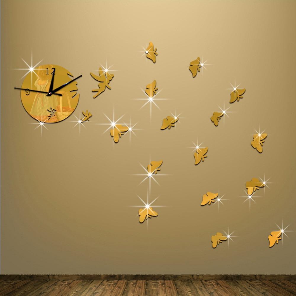 Diy creative mirror wall clock square clock 3d diy Acrylic mirror ...