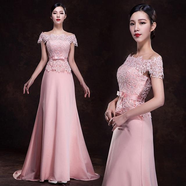 2017 nueva novia de la boda vestido de noche largo de color rosa ...