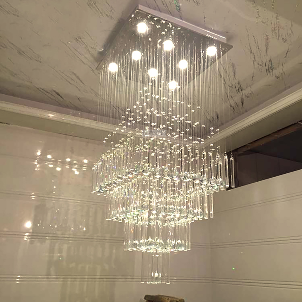 Square crystal Chandelier luxury modern staircase ceiling crystal lamps large home decoration lighting fixturesSquare crystal Chandelier luxury modern staircase ceiling crystal lamps large home decoration lighting fixtures
