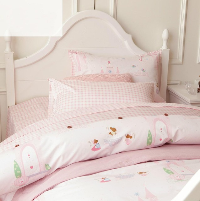 Cute Cartoon Pink Single Bed Settwin Teenage Kids Girl Plush Cotton Comfortable Home Textiles