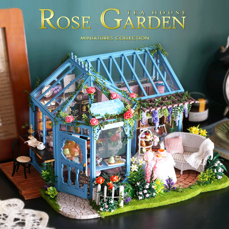 CUTE ROOM DIY Doll House Wooden Miniature Furniture With LED Kit Assemble Rose Garden Dollhouse Toy