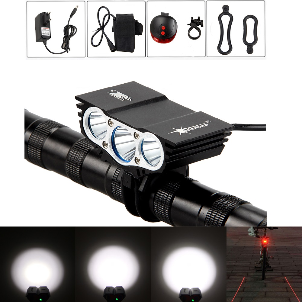 Solarstorm X3 Bicycle Light Set 8000Lumens XM-L T6 LED Cycling Bike Lamp Head Light Torch Back Taillight Bike Headlight solarstorm x3 bicycle light 8000 lumens 4 mode xm l t6 led cycling front light bike light lamp torch battery pack charger