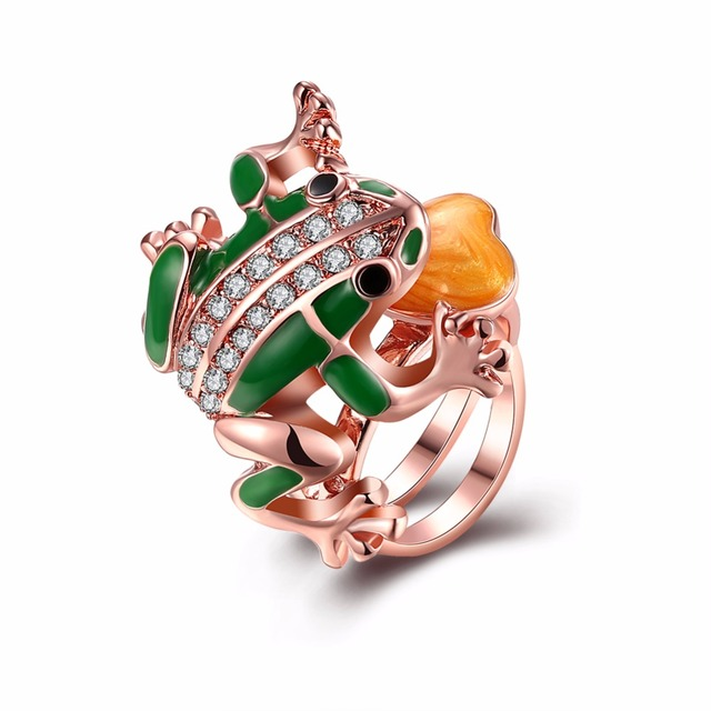 Free Shipping Fashion Green rose gold frog ring Jewelry Rose Gold