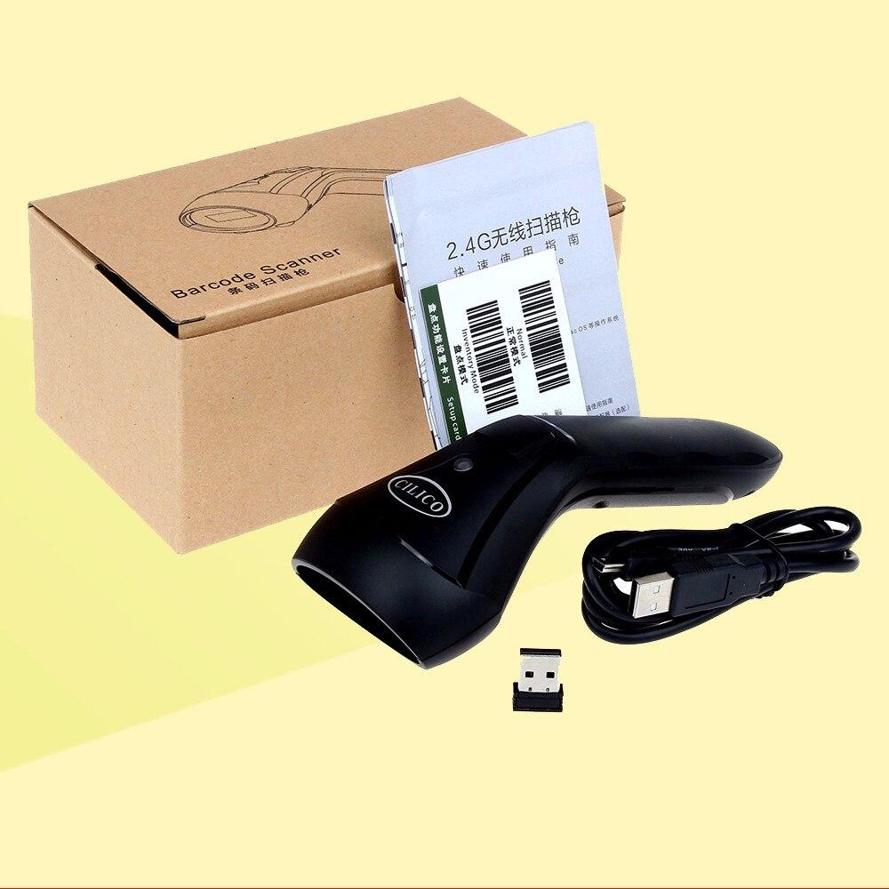 10 м диапазона лазерного излучения 1D сканер штрих-кода 2.4 г Беспроводной и USB проводной Портативный 1D сканер штрихкодов чтения для Оконные ра...