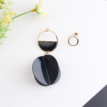 Exaggerated Tridimensional Geometric Earrings for Women Round Asymmetrical Solid Dangle Brinco Ear Drops E0245