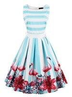 Hot Sale Women Pin Up Vintage Dress Floral Print Rockabilly Bow Belt Dresses Blue White