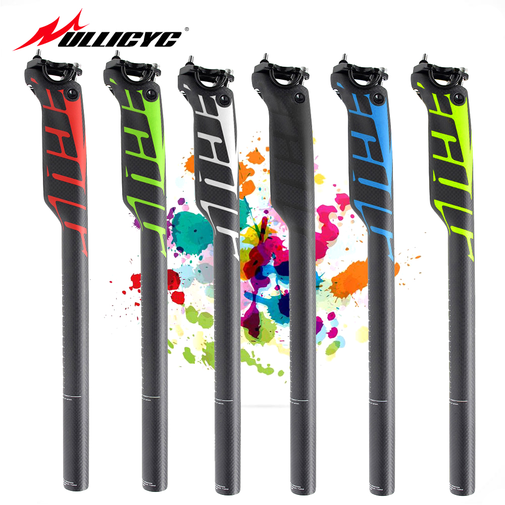 Newest Mountain Bike Carbon Seatpost Full Carbon Fibre Bicycle Seatposts Road MTB Parts 27.2/30.8/31.6*400mm 5mm Offset ZG308