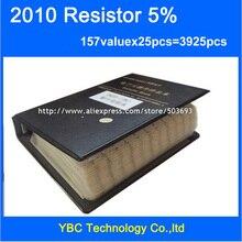 شحن مجاني 2010 المقاوم SMD عينة كتاب 5% التسامح 157valuesx25pcs = 3925 قطعة المقاوم كيت 0R ~ 10M