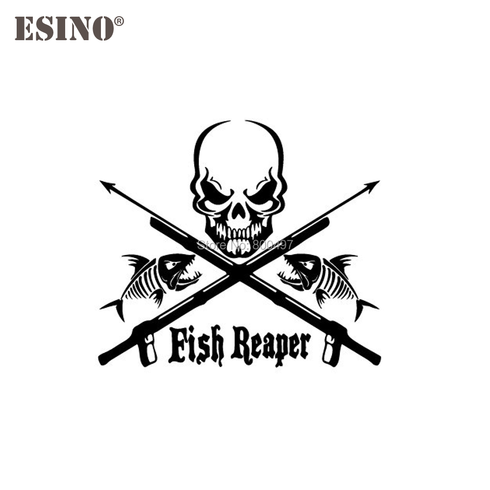 Home 2019 New Fashion Reflective Skull Fish Fear Me Car Stickers Removable Waterproof Decoration For Car Suv