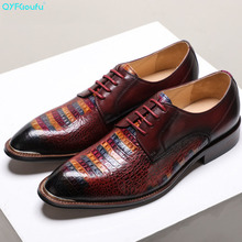 QYFCIOUFU 2019 Brand Top Quality Handmade Genuine Leather Shoes Men Pointed Toe Dress Oxfords Wedding Office