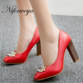 Fashion Spring/Autumn women pumps sexy Square Toe Buckle Strap ladies shoes big size 31-45 shallow red wedding high heels