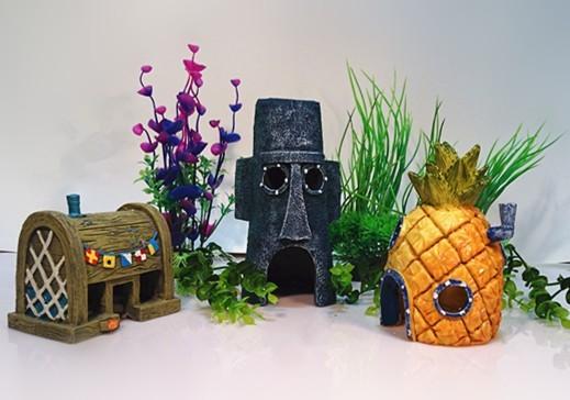 Spongebob Aquarium Decoration Fish Tank Ornaments Set of 3 Pineapple House & Squidward Easter Island & Krusty Krab