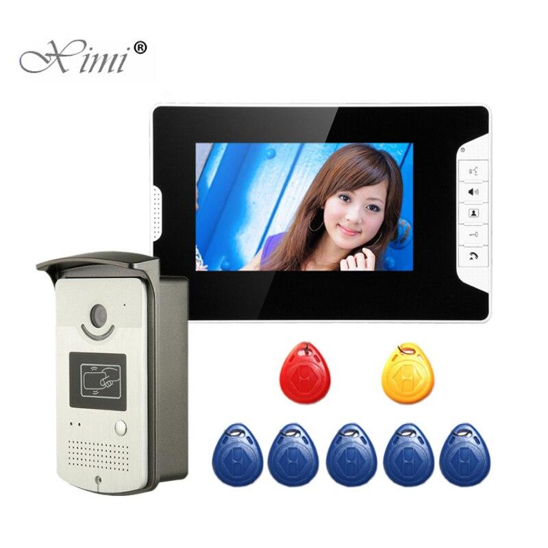 7 pouces couleur vidéo porte téléphone en métal extérieur intégré Installation vidéo interphone sonnette avec lecteur de carte RFID contrôle d'accès
