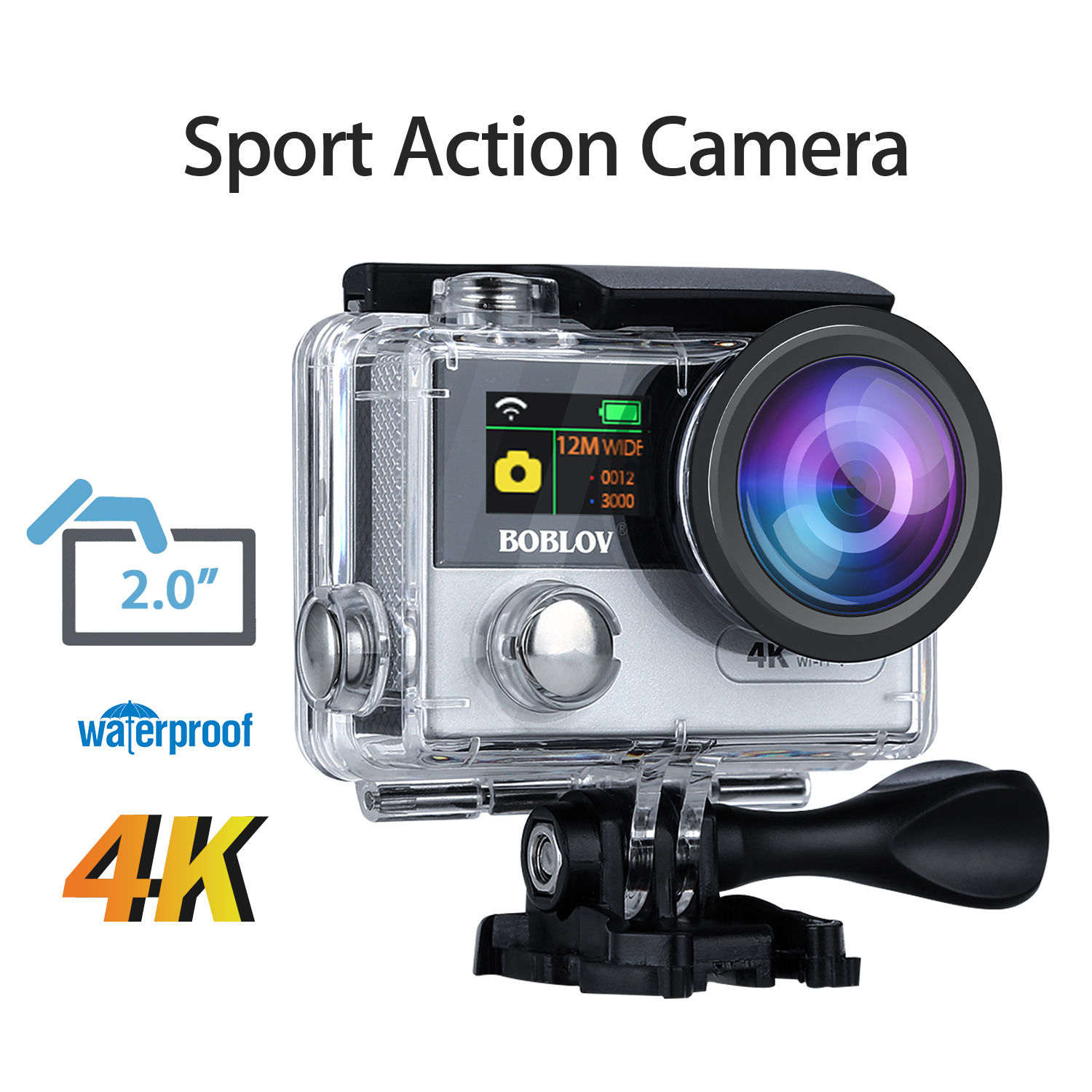 Boblov X6 4K Ultra HD Wifi 170degree Sport Action Camera Helmet Waterproof IP68 Camcorder Recorder+Remote Control+2pcs Battery h9 ultra hd 4k wifi 2 0 inch bicycle snorkeling surfing helmet sport camera video camcorder waterproof 30 meters under water