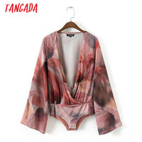 Tangada Fashion Women Floral Print Body Blouse Sexy Deep V neck Bodysuit Shirt Flare Sleeve Playsuit Tops LTK01