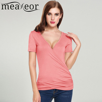 Women Casual Short Sleeve V Neck Solid Pullover T Shirt Slim Fit Soft Wrap Top