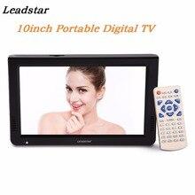 LEADSTAR 10 дюймов Портативный ТВ DVB-T2 цифровое аналоговое телевидение HD разрешение 1024x600 ТВ TF карта USB Аудио Видео Воспроизведение автомобильный телевизор