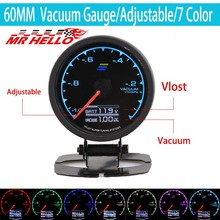 Gauge Vacuum Meter 7 Light Colors LCD Display With Voltage Car 62mm 2.5 Inch Sensor Racing Greddi