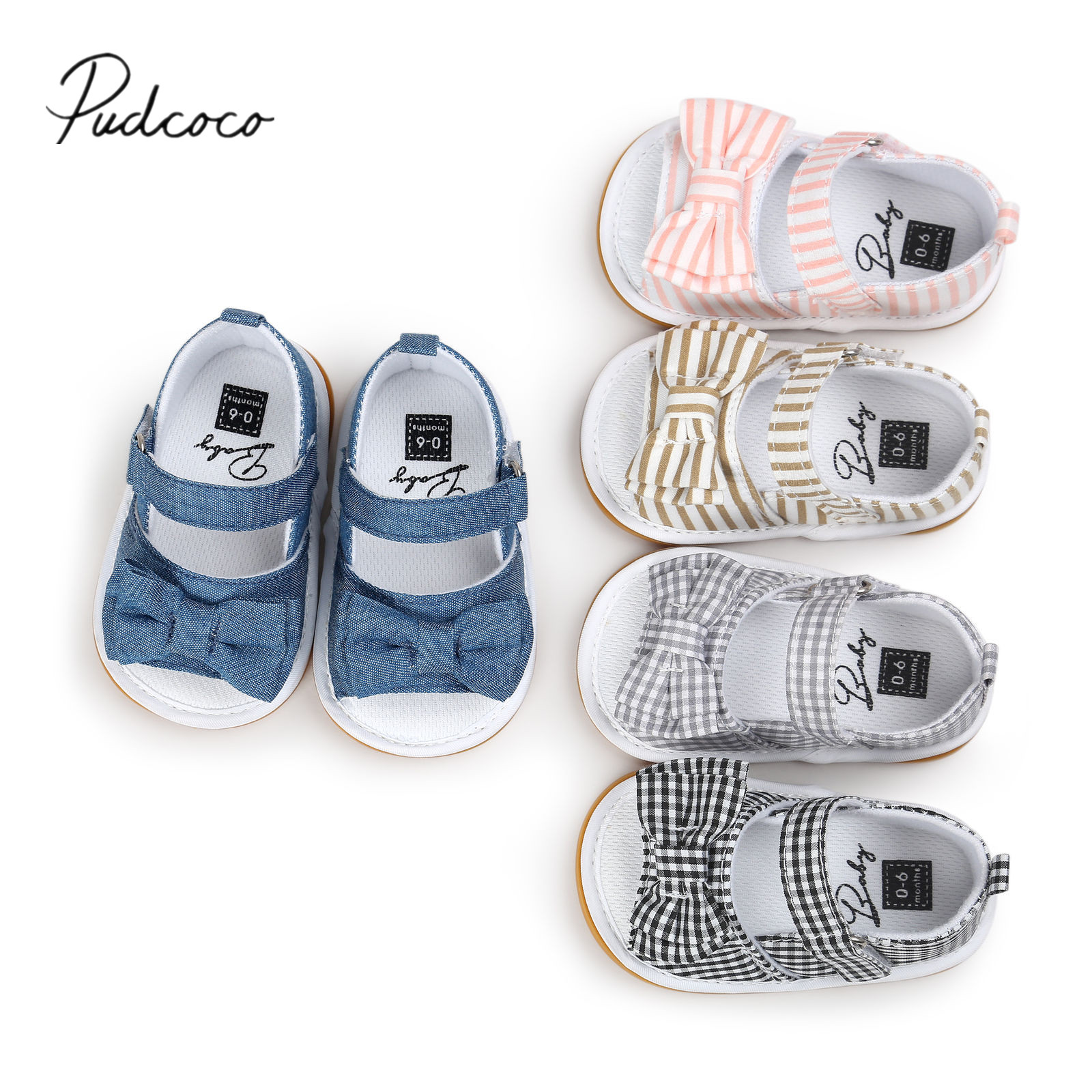 2018 Brand New Toddler Infant Newborn Princess Shoes Girls Sandal Summer Infant Baby Bow Knot Prewalker Stick Bow Striped Shoes