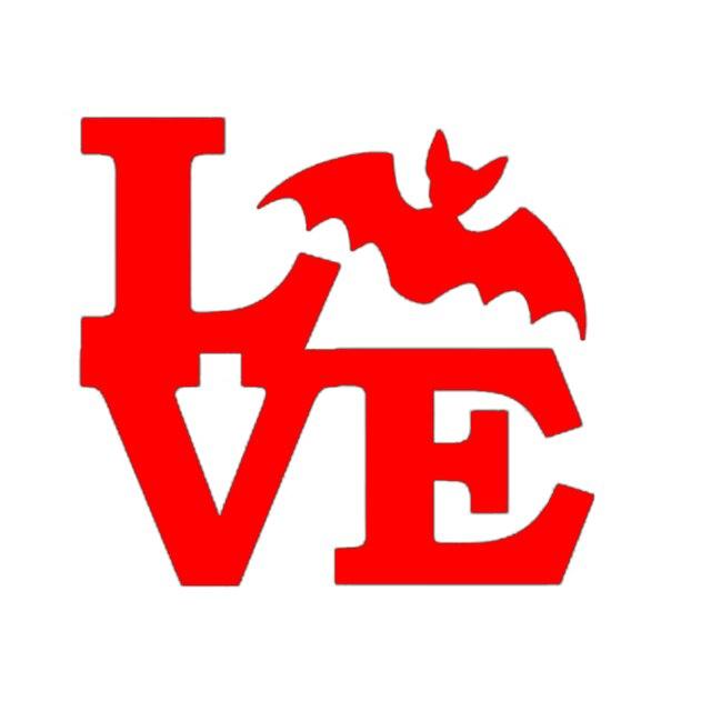Wholesale 50pcslot Horrible Bat Love Car Sticker For Bumper Kayak