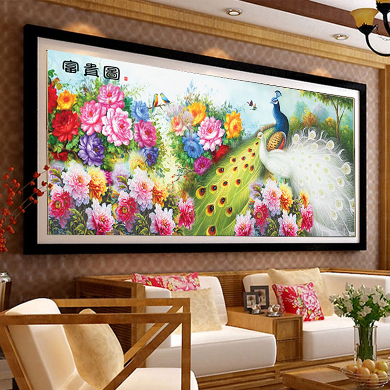 Us 29 0 Aliexpress Com Buy 120 56cm Diy 5d Diamond Embroidery Painting Mosaic Easy Draw Animals Flowers Couple Peacock And Peony Wall Decoration