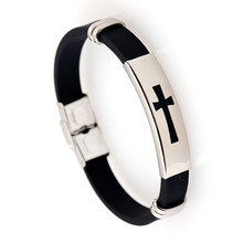 Cross Stainless Steel Silica Gel Hand-ornament Bracelet Factory Direct Selling Jewelry