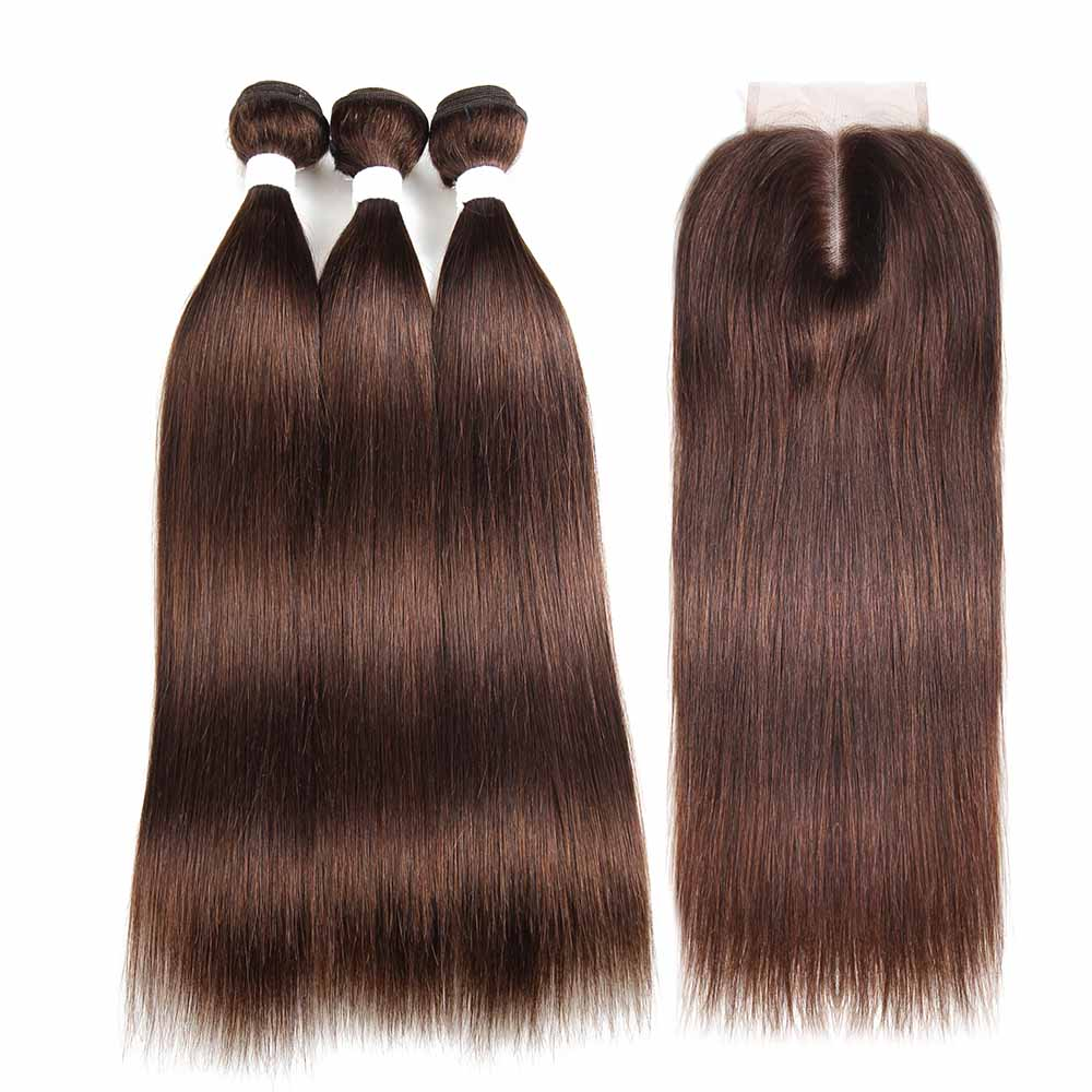 Medium Brown Human Hair Bundles With Closure 3PCS Brazilian Hair With Closure SOKU Non-Remy Brazilian Straight Hair Extension