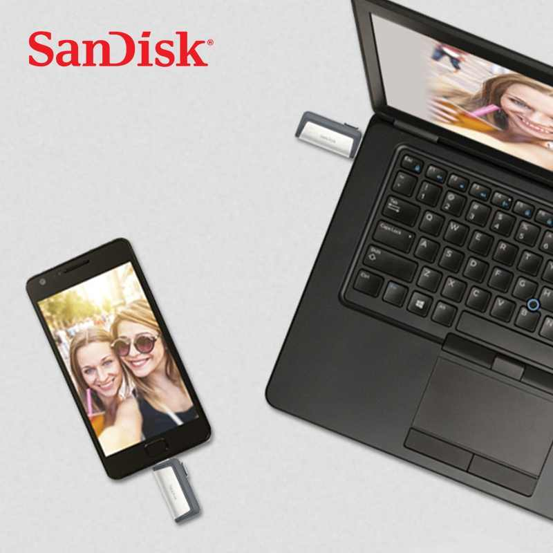 سانديسك محرك فلاش usb الترا المزدوج USB3.1 القرص OTG Type-C القلم حملة عصا 150 متر/الثانية 16 جيجابايت 32 جيجابايت 64 جيجابايت 128 جيجابايت للهواتف الذكية المحمول
